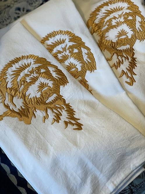 Golden doodle embroidered towel