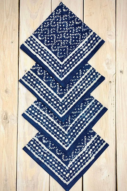 Block print cobalt blue napkin set (4)