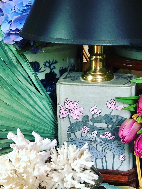 Vintage gray and pink table lamp
