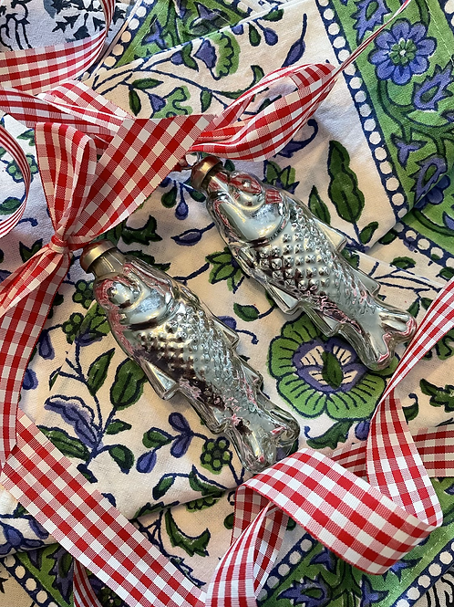 Glass fish ornament pair