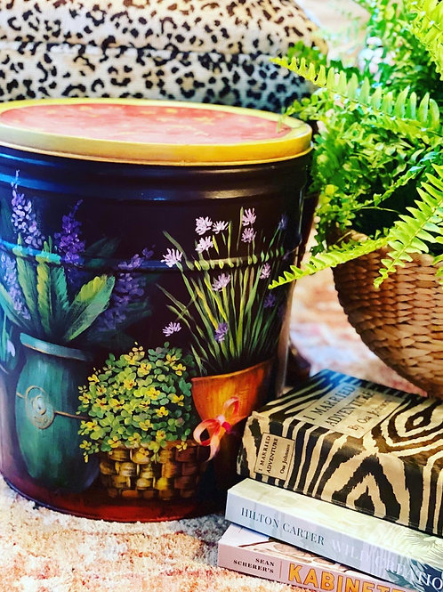 Floral painted tin