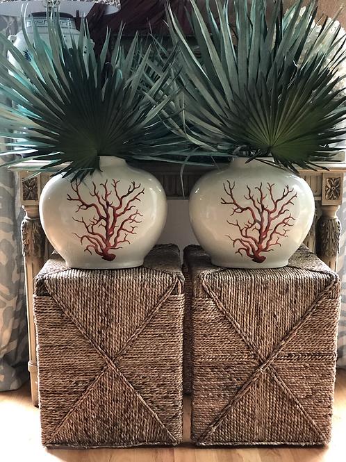 Coral vase pair
