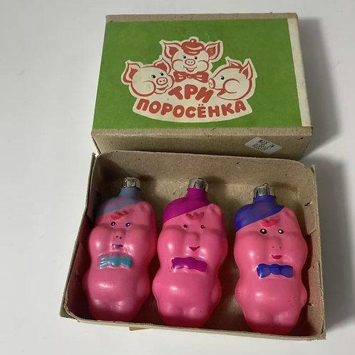Vintage three little pigs ornaments