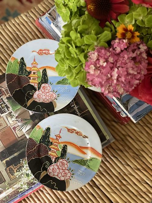 Handpainted pagoda dishes