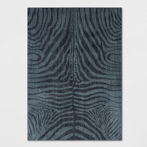 Navy blue zebra area rug