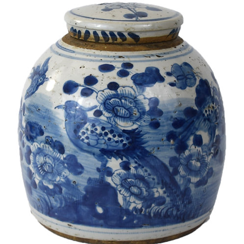 Antique Reproduction ginger jar with bird