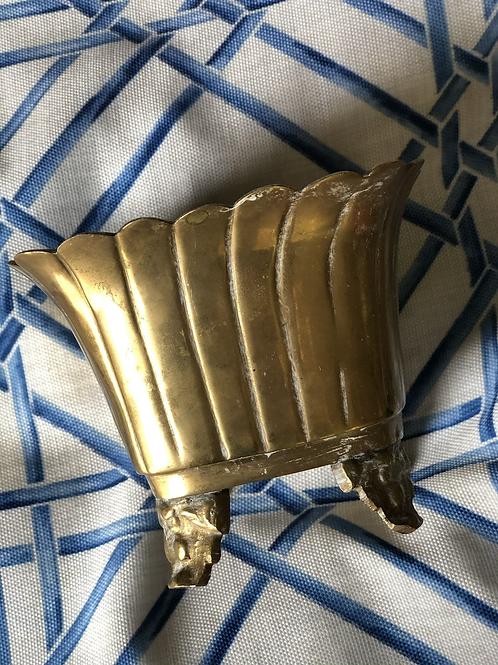 Footed brass pot