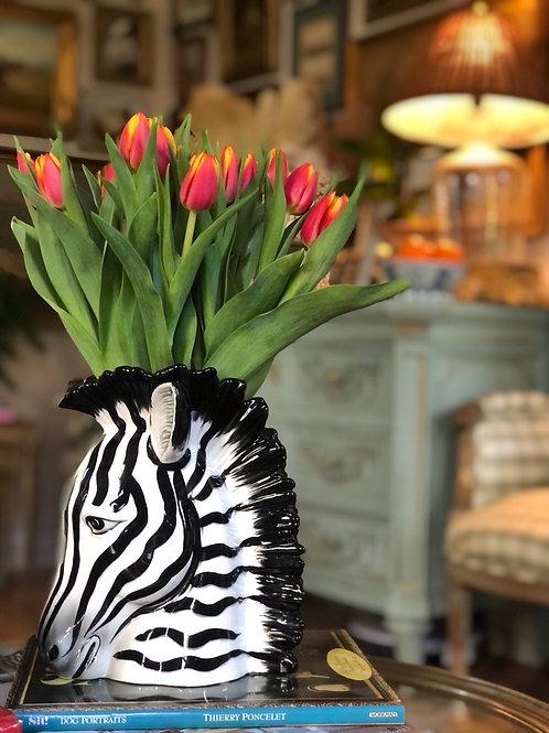 Fitz and Floyd zebra vase