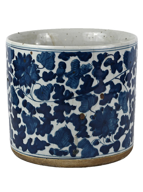 Blue and white leaves planter
