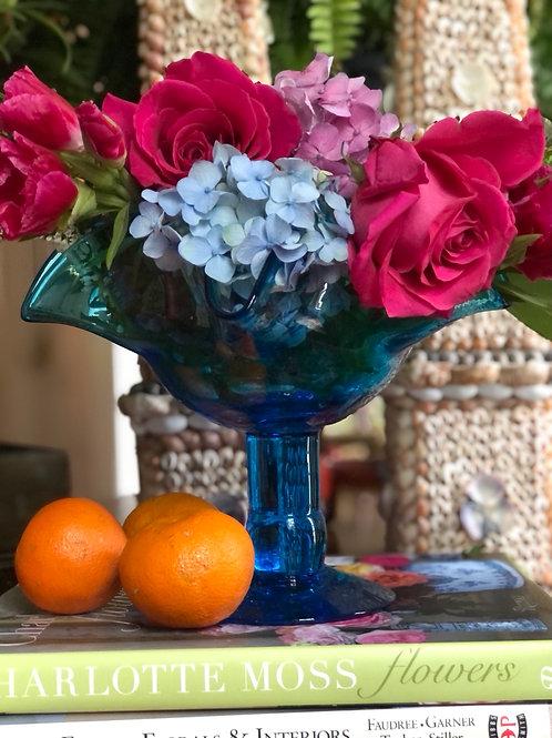 Blue glass pedestal bowl