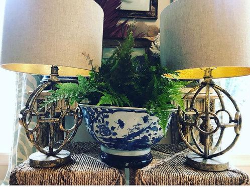 Pair of globe lamps