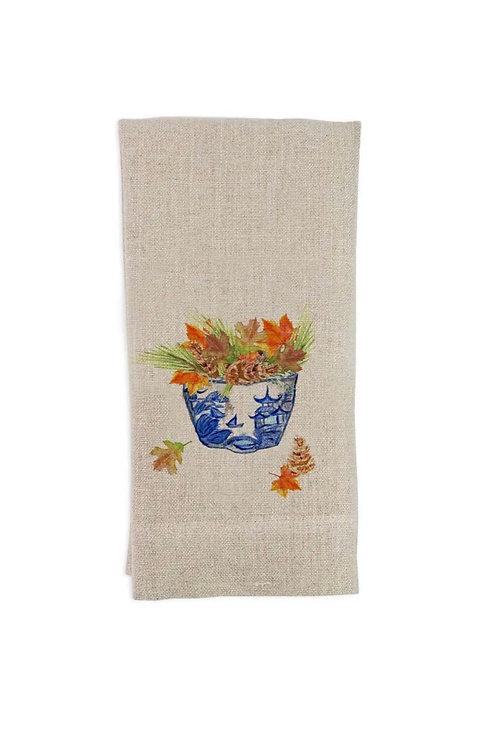 Fall linen hand towel