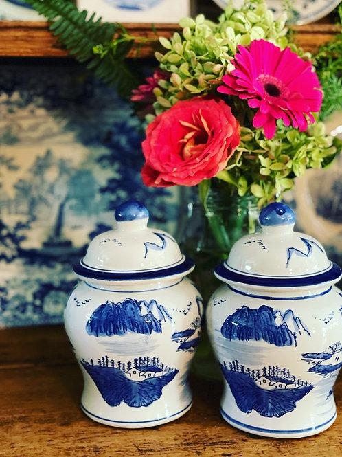 Mini blue and white temple jars