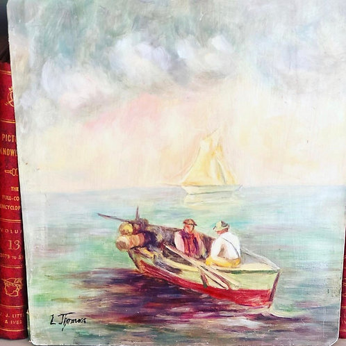 Vintage painting on tin