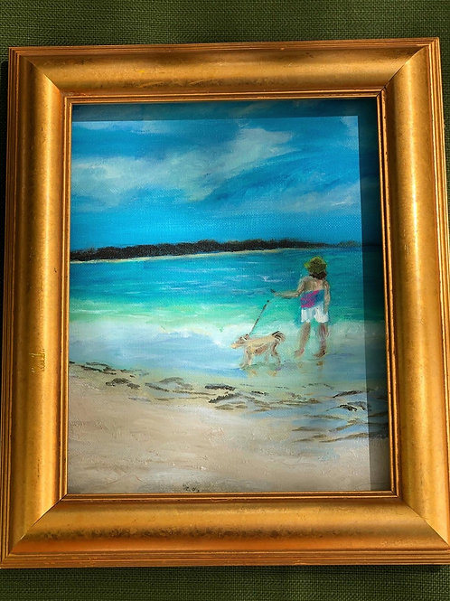 Girl with dog seascape