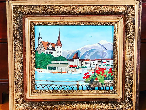 Vintage oil painting in antique frame