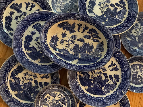 Blue willow platter and plate lot