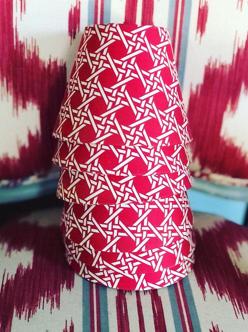 Red trellis chandelier shades