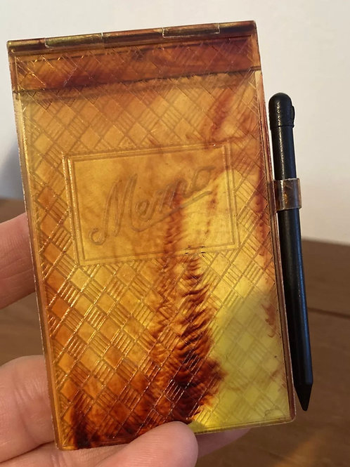Tortoise memo pad with pencil