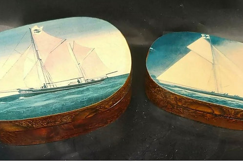 Tortoise shell sailboat boxes