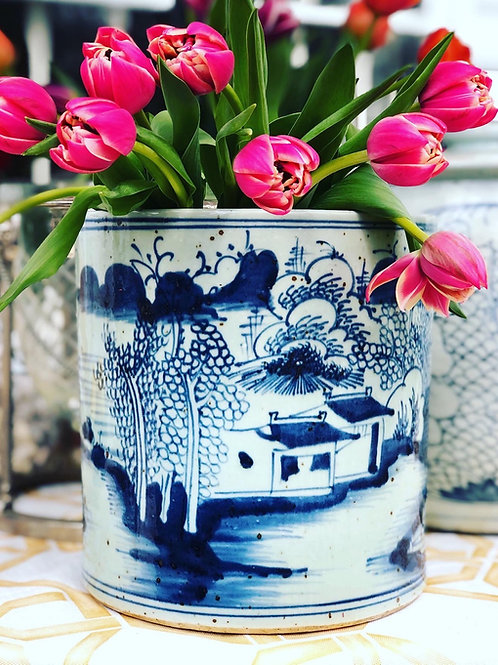 Blue and white planter with village scene