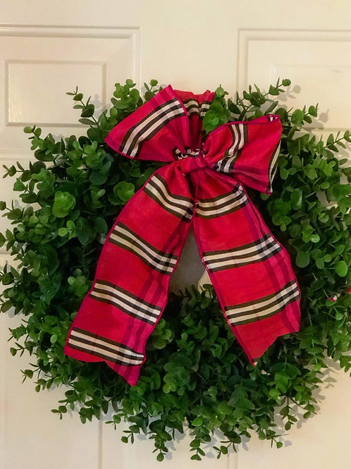 Faux boxwood wreath with bow