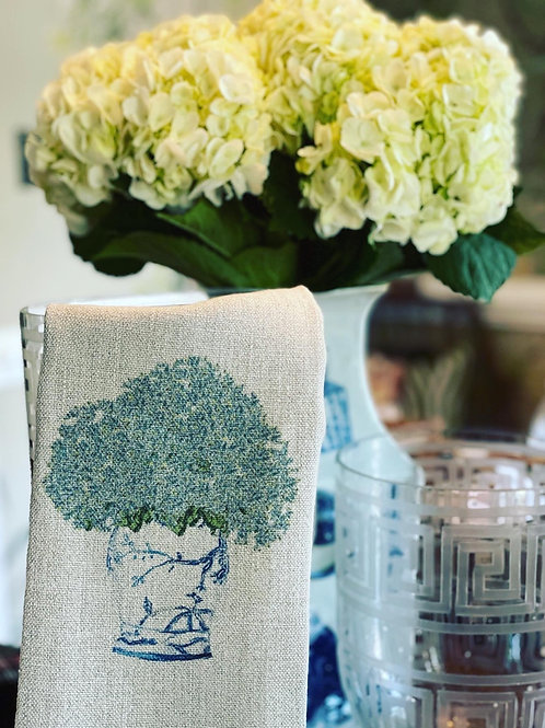 Hydrangea linen hand towel