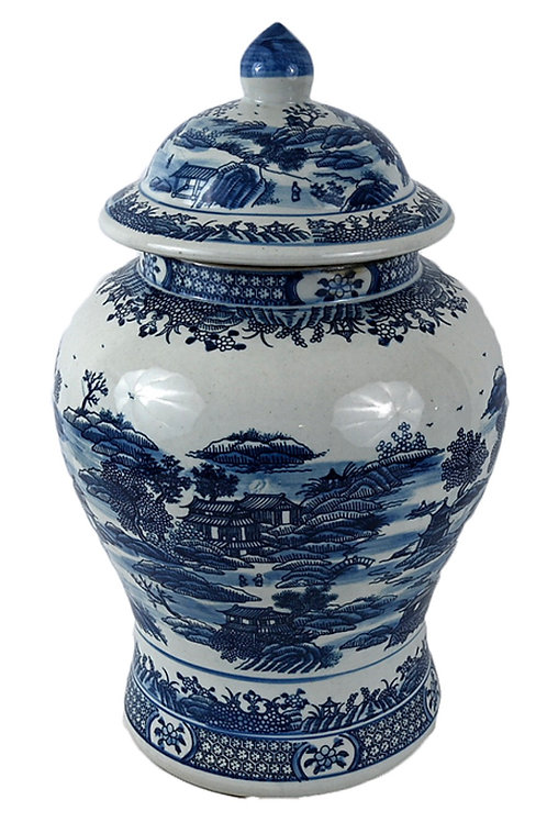 Blue willow inspired temple jar