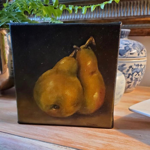 Pears on canvas