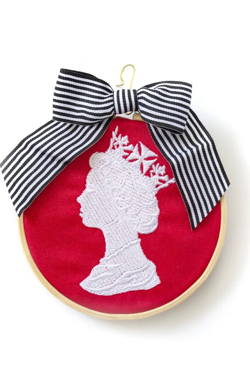 Queen embroidered ornament