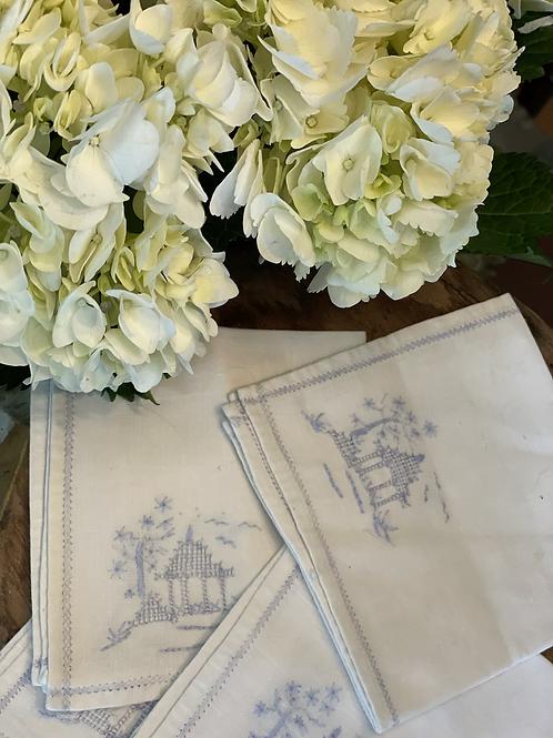 Embroidered pagoda napkins