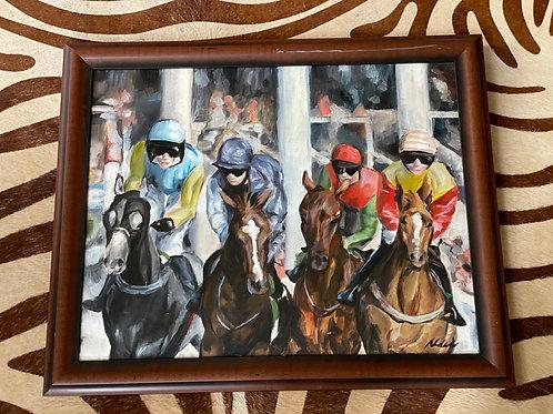 Jockey oil painting