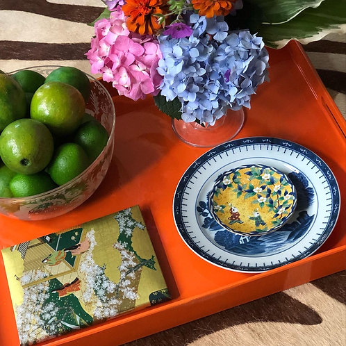 Orange lacquered tray
