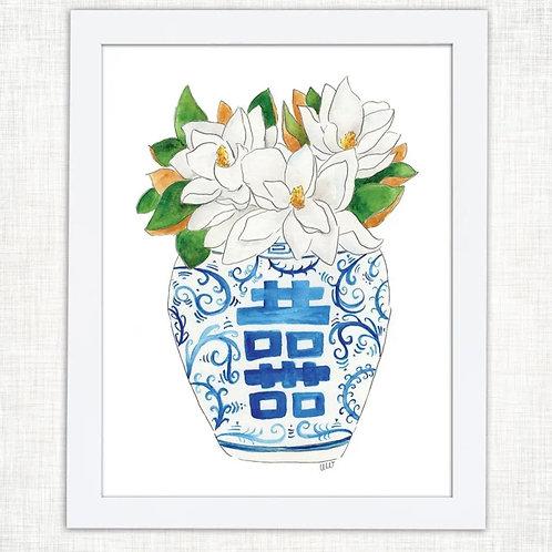 8x10 magnolia jar print