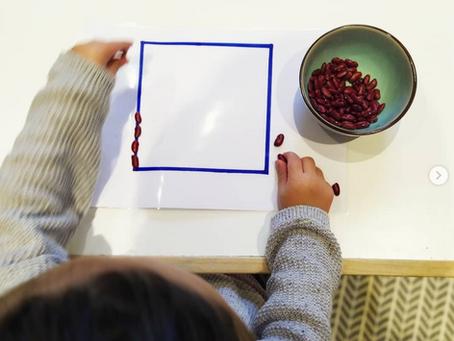 Activité Montessori - Graines & lignes