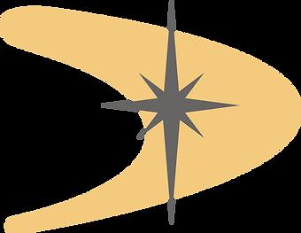 yellow boomerang shape with grey star.pn