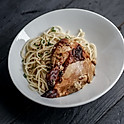 Roasted Chicken with Garlic Spaghetti