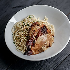 Roasted Chicken with Garlic Spaghetti