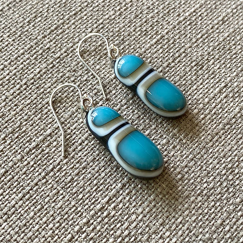 Handmade Turquoise, vanilla & dark grey drop earrings