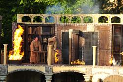 Bibliothek in Flammen