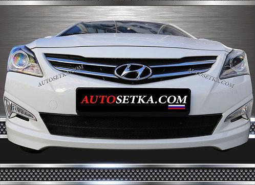 Premium защита радиатора Hyundai Solaris (2014-) Ч
