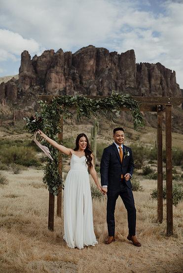 bride and groom wedding elopement in the desert