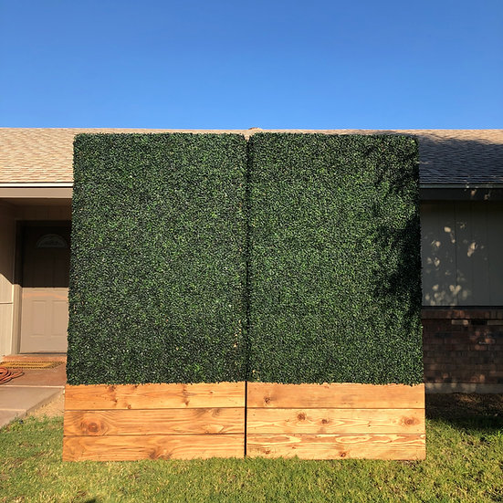 view of 2 artificial boxwood hedge walls