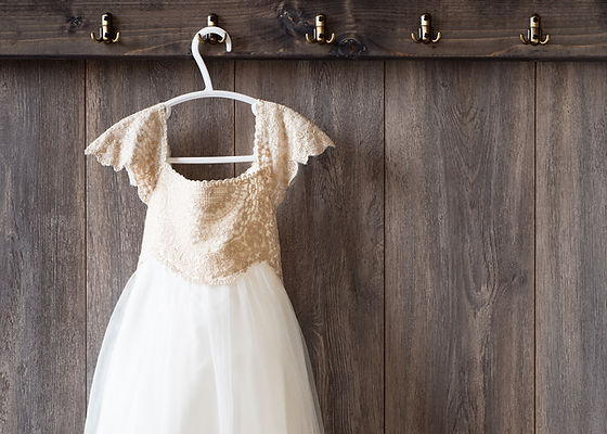Wedding Dress on Hanger Rustic