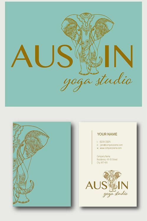 Custom Elephant | Yoga Studio Pre-Designed Logo & Business Cards