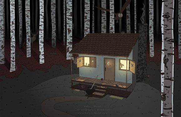 Witch's Cabin Print | Original Art Print | 11x17inch Art Print