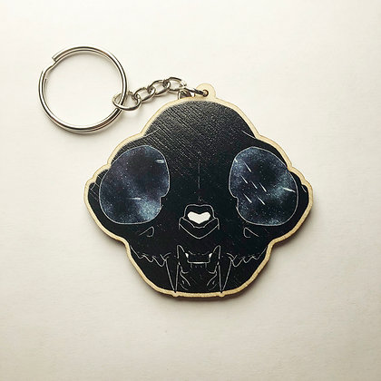 Wooden Space Cat Skull Keychain