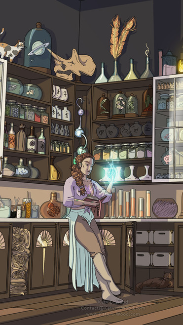 Flower Tattoo Lady Full Illustration