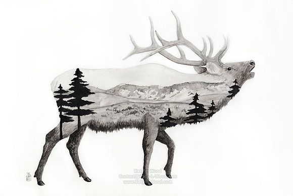 """Elk Charity Print 