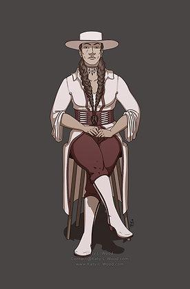 Regal Western Woman Print